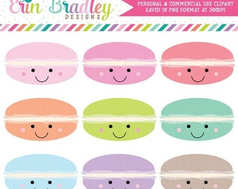 80% OFF SALE Happy Macaroons Clipart Commercial Use Macaron Clip Art Food Dessert Graphics Personal & Commercial Use