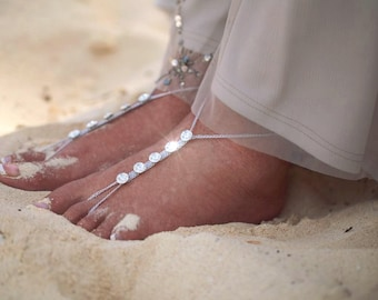 Silver Barefoot Sandals- Gold Sandals- Beach Wedding- Foot Jewelry- Swarovski Footless Sandals- Barefoot Wedding Sandal- Bridesmaid gift MCC