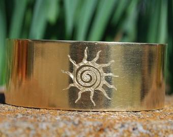 Brass Gold Sun Bracelet Cuff Native American Jewelry Cherokee Jewelry
