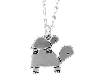 Sterling Turtle Family Necklace - Silver Tortoise Pendant - Turtle Charm - New Sister - New Brother