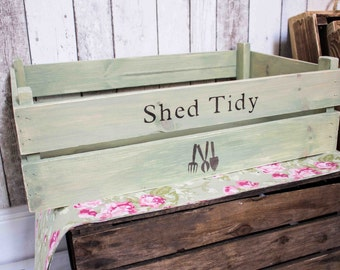 Shed Tidy Crate, apple crate, fruit crate, shed storage, crate, rustic crate, bushel box