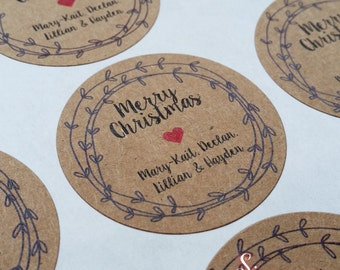 Christmas gift labels, kraft brown stickers