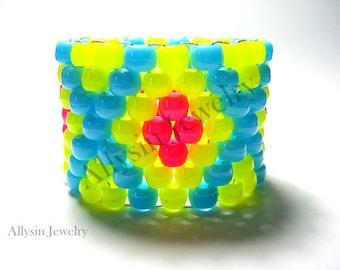 Neon Yellow Kandi Cuff Bracelet, X Pattern, Hot Pink, Baby Blue