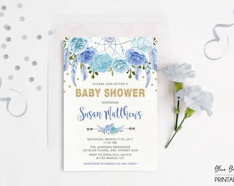 Boho Floral Baby Shower Invitation Purple And Gold Flower
