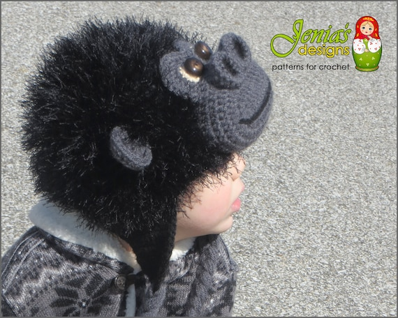 Crochet Pattern Monkey Animal Hat For Baby Toddler Child