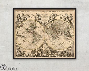 Old map of the world - Vintage style map  - Wall world map - Archival Fine Art print - 007