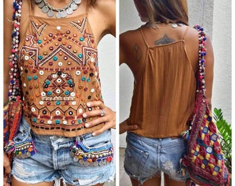 Spaghetti strap Top/Boho Mirrors Top/Festival top/Embroidery Top/Indian top/Bohemian Indian Top.