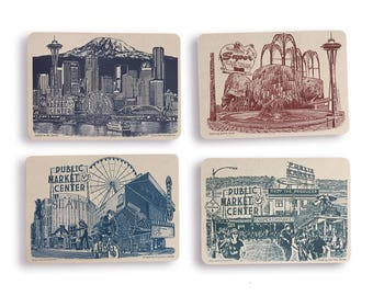 NEW!! Landmarks of Seattle Postcards -  Set of 8  // Seattle Washington Cards // Mt. Rainier // Collage // Cityscapes