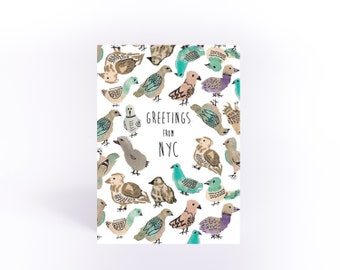 NYC pigeon postcard