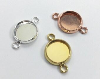 20Pcs Gold,Rose Gold,rhodium  Bezel Connectors ,Bracelet Link Bezel Blanks ,Pendant Tray Setting