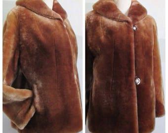 Mouton Jacket Sheepskin Fur 1940's Bakelite Buttons Wide Sleeves Shawl Collar  Size M