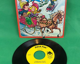 Vintage Peter Pan Records JINGLE BELLS 45 RPM Record Plus 3 Other Christmas Songs