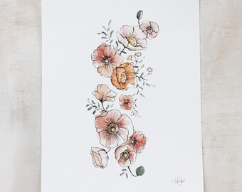 Poppies watercolor study // art print - flowers - wall art - ink - Mother's Day- floral - artwork - original painting - baby girl room