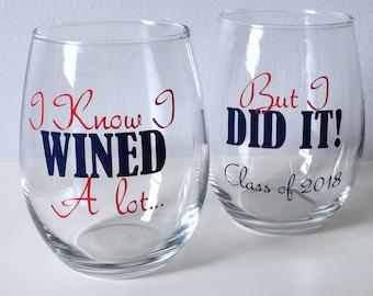 Graduate School Graduation Gift, College Graduation Gift, Class of 2018, Graduation Wine Glass, Personalized Graduation Gift, 2018
