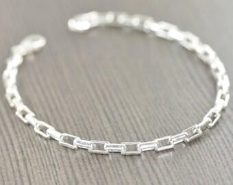 Mens Bracelet Unisex Sterling silver bracelet, Made in Italy, 7 inch and 8 inch unisex bracelet gifts for him