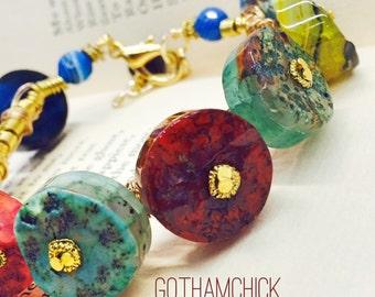 Crown of Colors Agate Tube Slice Bracelet