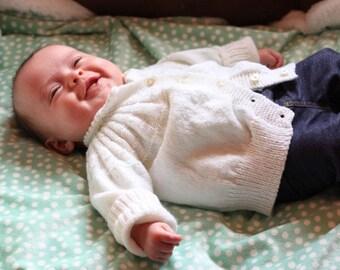 White Baby Sweater Set, Knit Baby Sweater Set, Christening Sweater, Baptism Sweater, White Baby Hat, White Baby Booties, White Baby Socks