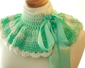 Mint and Cream Dream Neck Warmer - Easter Pastel - Ruffle Collar