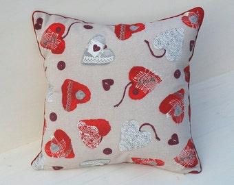 Christmas pillow, handmade pillow, beige pillow, heart pillow, red pillow, Christmas gift, gift for mom