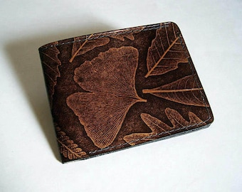 "Leather Wallet - Thin Bi-fold with Leaf Design - Handmade Brown Man's Leather Wallet - ""B"" Style Interior"