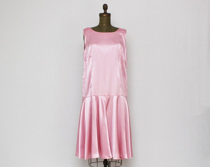 Vintage 1980s Does 30s Pink Satin Drop Waist Dress - Size Large