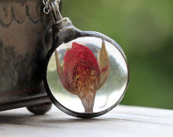 Rose Necklace - Botanical Pendant - Glass Pendant - Red Rose Bud Pendant - Real Flower Jewelry