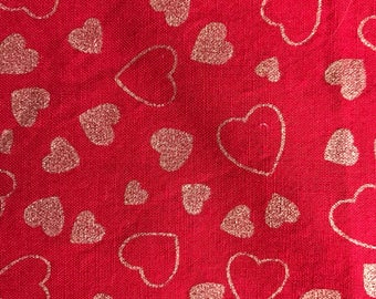 Heart Cotton Fabric 1/2 Yard.