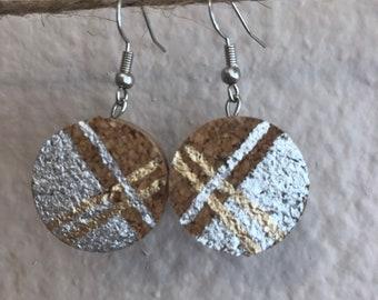 Plaid wine cork earrings