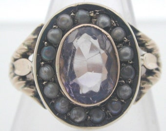 Antique 9ct Yellow Gold Amethyst and Pearl Ring size N 1.48cts