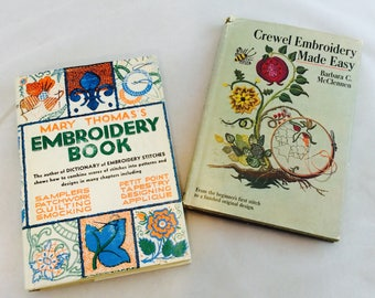 Vintage Embroidery Books, Vintage Needlework Books, Crewel Embroidery Books, Sewing Room Decor