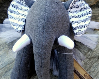 "Gray Plush Elephant - ""Peggy"""