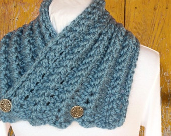 Chunky Knit Scarf Pattern, Button Cowl Patterns, Chunky Yarn Scarf Patterns, Knit Scarf Pattern with Buttons