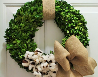 Cotton wreath ,  boxwood wreath , preserved boxwood wreath  ,front door mothers day wreath ,  spring wreath