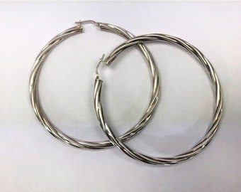 Beautiful Sterling Silver Large Twisted Hoop Earrings - Pierced