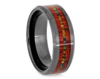 Wood Ring, Bloodwood and Dymondwood in Black Ceramic