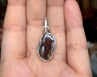 Koroit opal pendant, Wire wrapped pendant, Sterling silver, Australian boulder opal jewelry, Australian opal necklace, Opal cabochon