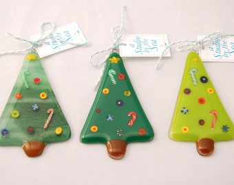 All Three Fused Art Glass Christmas Tree Ornaments