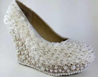 Wedding Heels | Ivory Wedding Wedges | Pearl Wedding Wedges | Lace Wedding Wedges | Lace and Pearl Bridal Shoes | Lace Wedding Shoes | Prom