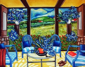 van Gogh, Van Gogh Art Print, Sunroom, Interior,  van Gogh Flowers Outdoor Furniture, , Home Decor