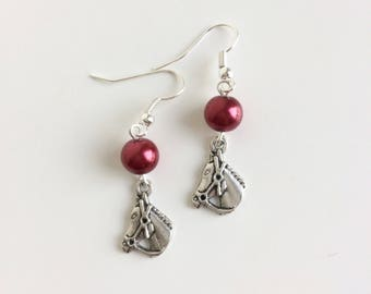 Horse and red beads earrings