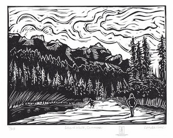Larch Walk, Canmore - Linocut Relief Print, Hand Pulled Fine Art, Limited Edition, Printmaking Original