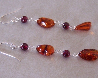 Amber, garnet and sterling silver earrings