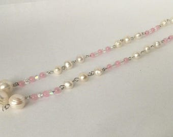 Freshwater Pearls and Rose Quartz with AB Crystals Necklace
