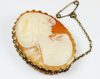 Vintage Art Deco Style (1920-1935) Silver Gold Plate Conch Shell Cameo Brooch
