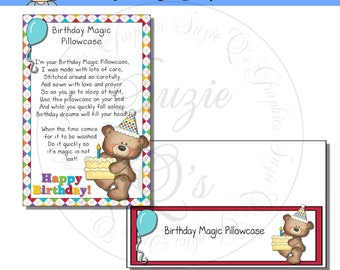 Birthday Magic Pillowcase Card and Topper - Digital Printable- Immediate Download