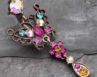 Vintage Boho Glistening Butterfly Flower Reverse Belly Button Ring - Copper/Aurora Borealis/Fuchsia