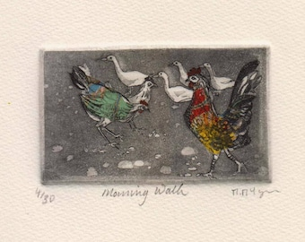 Morning Walk, original etching of hens and ducks by Moira McTague