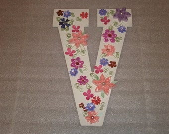 """Quilled Flowers on a 13"""" White Wooden Letter /Alphabet Initial that is 1/4"""" thick."""