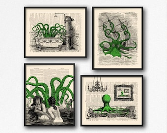 Dorm Decor Wall Art, College Dorm Decorations, Dorm Room Decor, College Student Gift, Giant Octopus Vintage Art Print Kraken Attack Ship S46