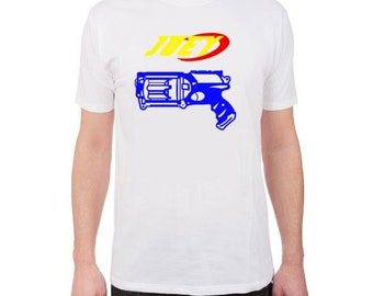 PERSONALIZED NERF Gun T-Shirt, Kids Nerf Gun T-Shirt, Dart Gun, Nerf Birthday Party, Blue, Orange, Red, Green, Pink, Purple, Black